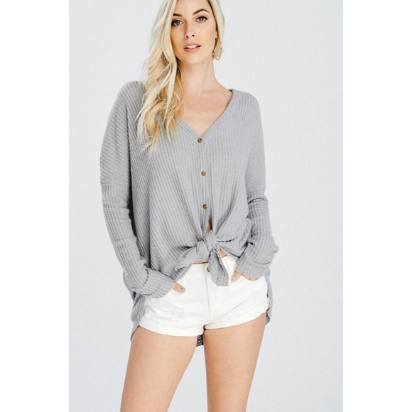 likeNarly Tops - >>LAST<< Eve Button Down Thermal - Heather Gray